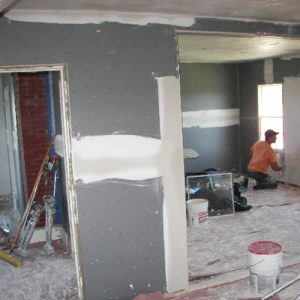 Drywall in progress. <i>Photo Credit: Chris Barstow</i>